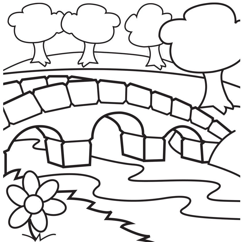 Bridge clipart coloring Coloring Images Log Pages Log