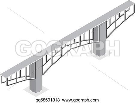 Bridge clipart isometric Bridge bridge Clipart isolated on