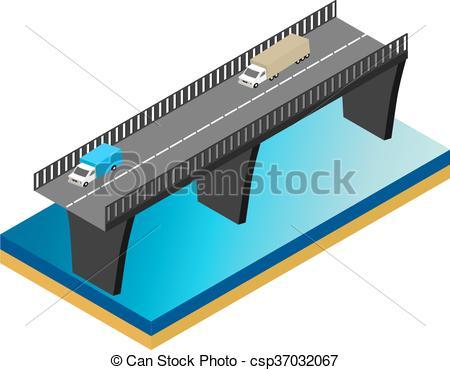 Bridge clipart isometric Cars bridge csp37032067 Clip river