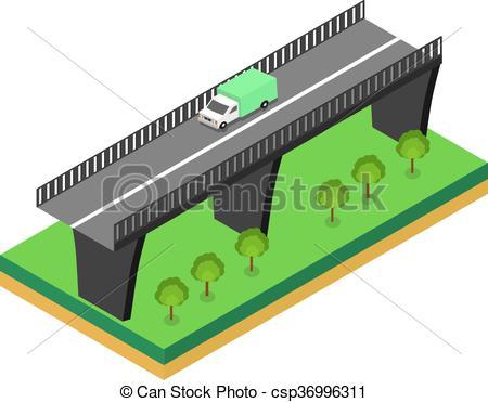 Bridge clipart isometric Clip bridge Art of Vector