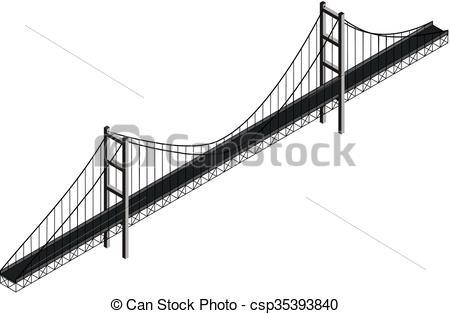 Bridge clipart isometric Of suspension Isometric suspension Vector
