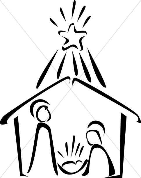Bright clipart black and white Bright with Star and Nativity