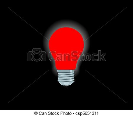 Bright clipart electric bulb Red lamp electric Vector Bright