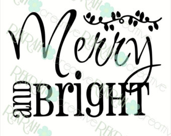 Bright clipart merry DIGITAL 9x9 PNG for Design