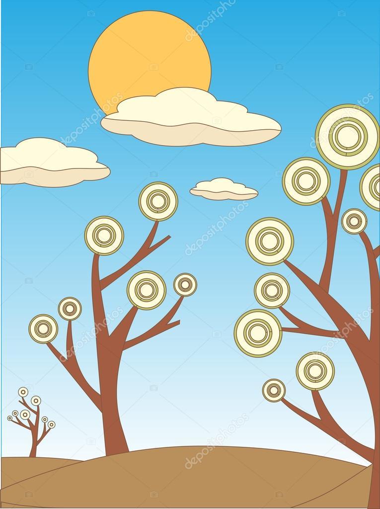 Bright clipart tree landscape Outline landscape Colored Bright Illustration