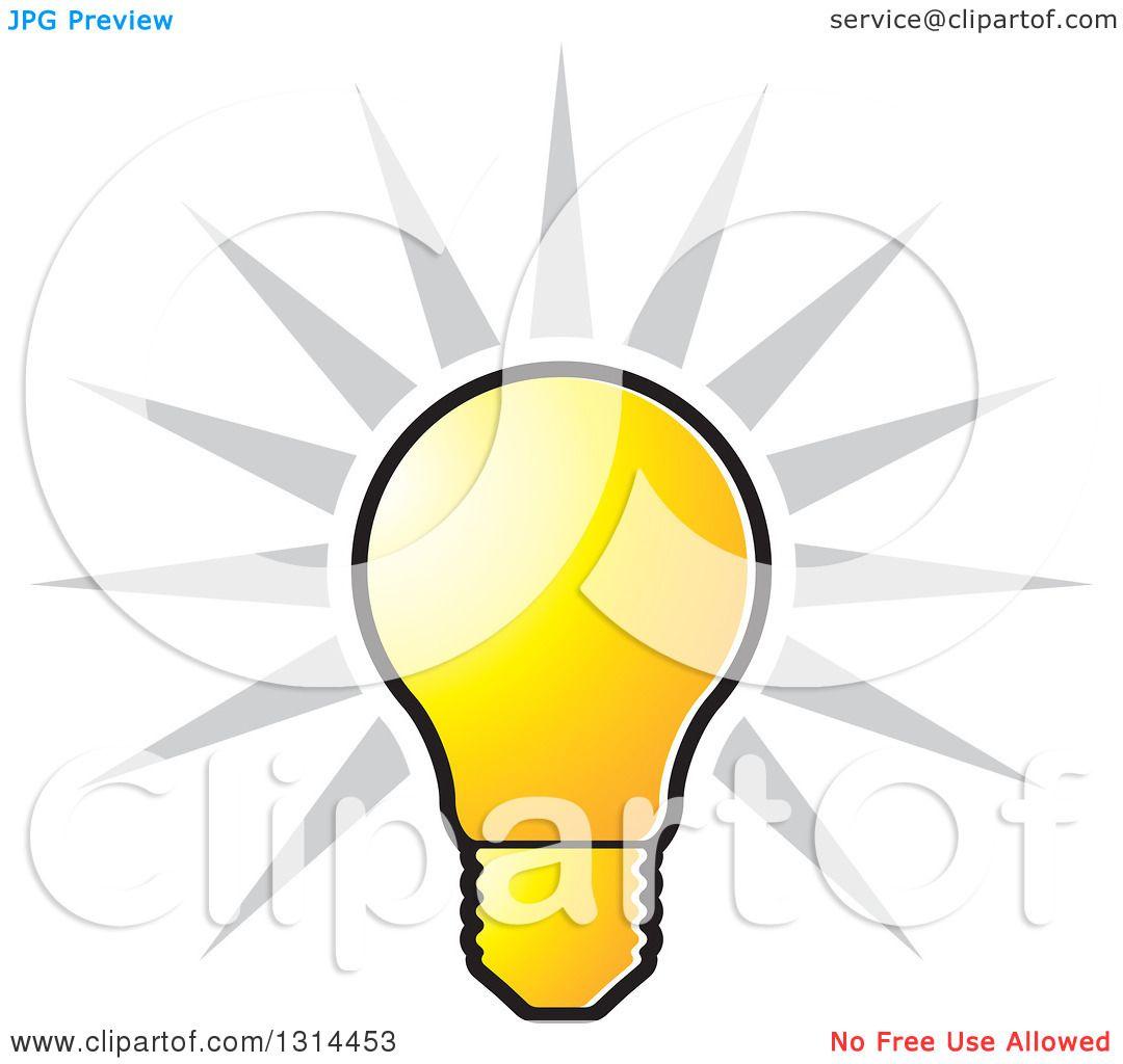 Bulb clipart yellow thing Shining collection Clipart of a