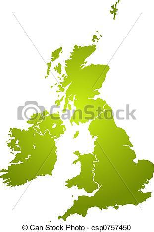 Britain clipart Britain Map  green Illustration uk the