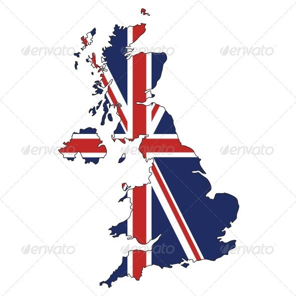 British Flag clipart england map UK GraphicRiver with Jack Flag