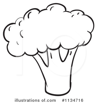 Broccoli clipart black and white And Illustration by Broccoli black