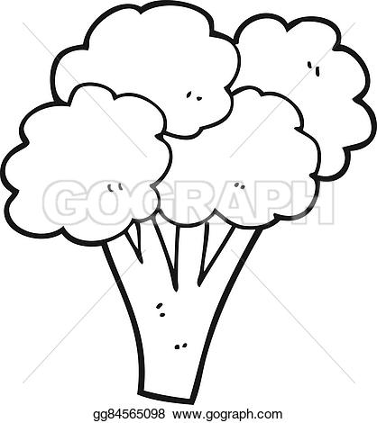 Broccoli clipart coloring And Clipart white broccoli Freehand