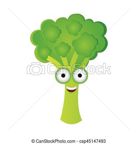 Broccoli clipart kawaii Icon color of kawaii Vectors