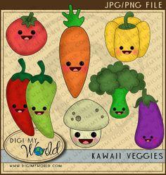 Broccoli clipart kawaii  on Veggies 99 Craft