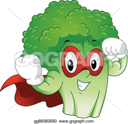 Broccoli clipart strong Superhero  Clipart Vector broccoli