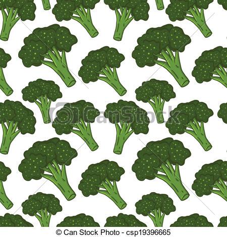 Broccoli clipart vector Vector hand seamless drawn Cute
