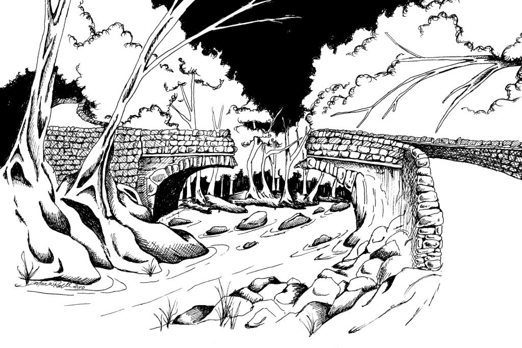 Broken Bridge clipart black and white Marc By Raging Press Bridges