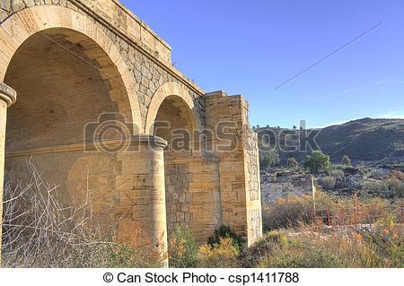 Broken Bridge clipart stone bridge Over dry  broken river