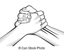 Brotherhood clipart Two male hands Illustrations Stock