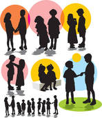 Brotherhood clipart Set vector silhouettes Brother childre