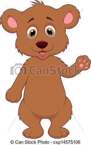 Brown Bear clipart baby bear Cartoon baby csp14575106 cartoon waving