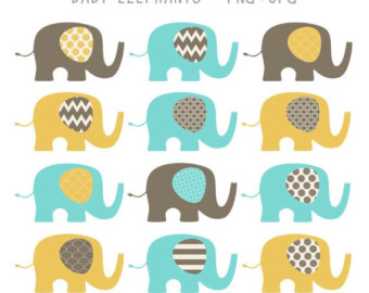 Brown clipart baby elephant Illustration Elephants Elephant Commercial SALE