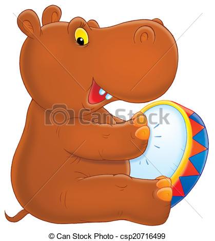 Brown clipart hippo White drumming Stock on hippopotamus
