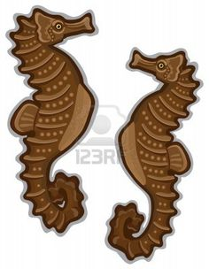 Brown clipart seahorse Seahorses and template with browns