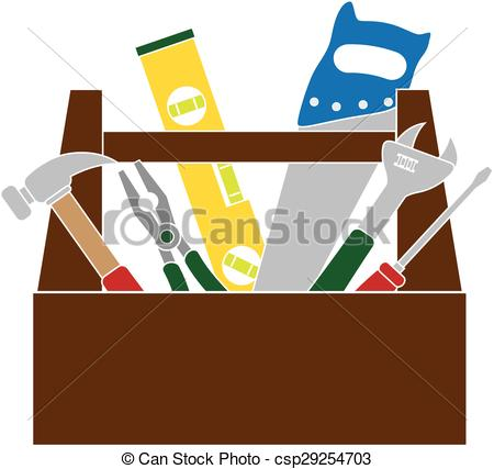 Brown clipart toolbox With Color Construction Tools Vector