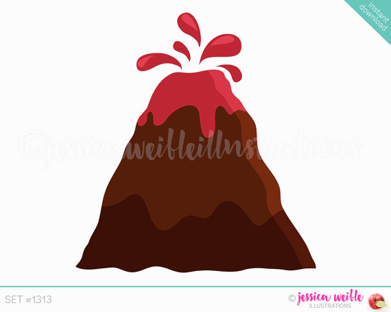 Brown clipart volcano Volcano Cute Clip Digital art