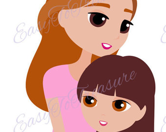 Brown Hair clipart mom face Clipart Etsy – and with