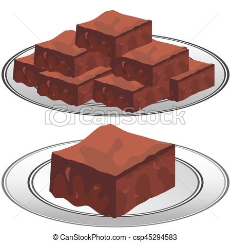 Brownie clipart plate Vector of of of a