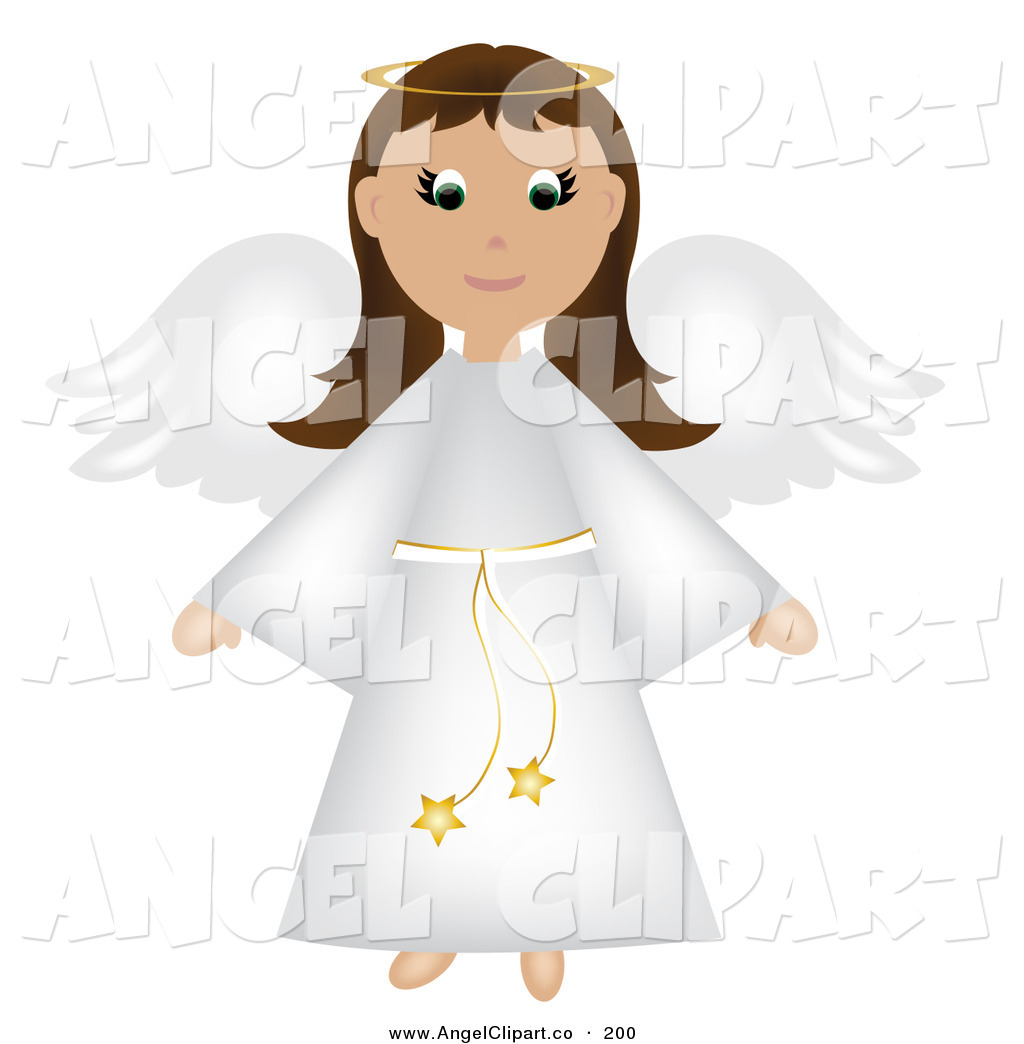 Brunette clipart angel In Christmas Robe White a