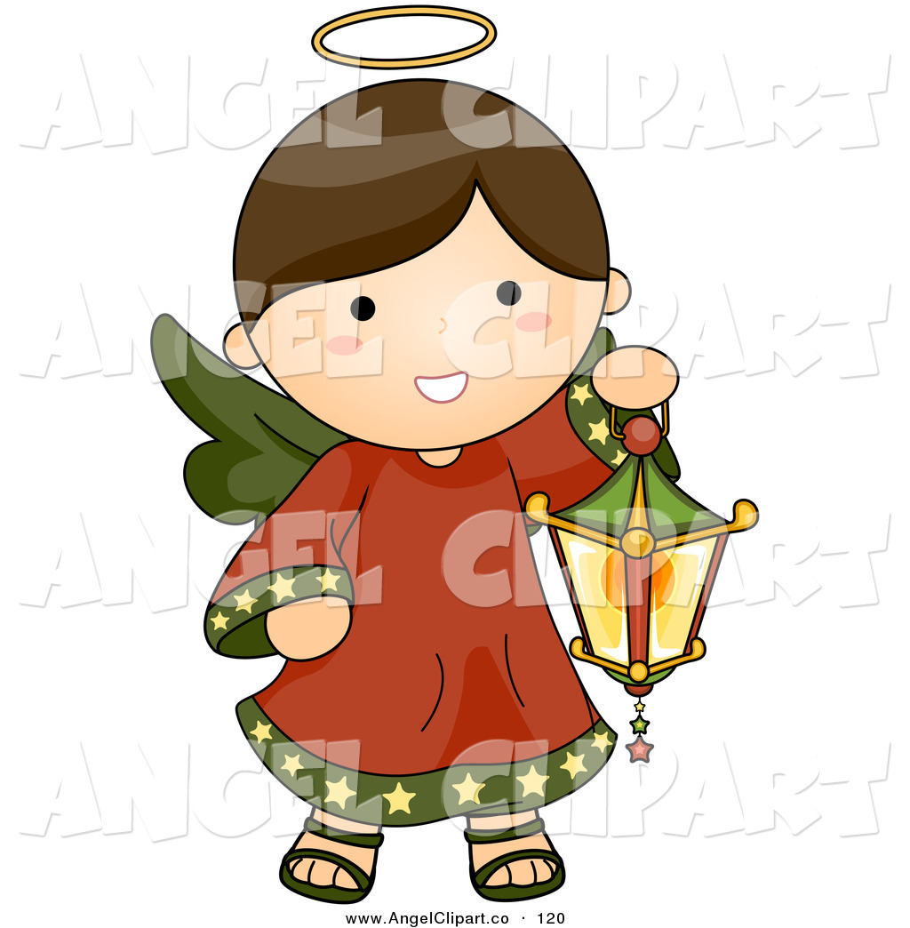 Brunette clipart angel Angel Brunette Lantern Wings Carrying