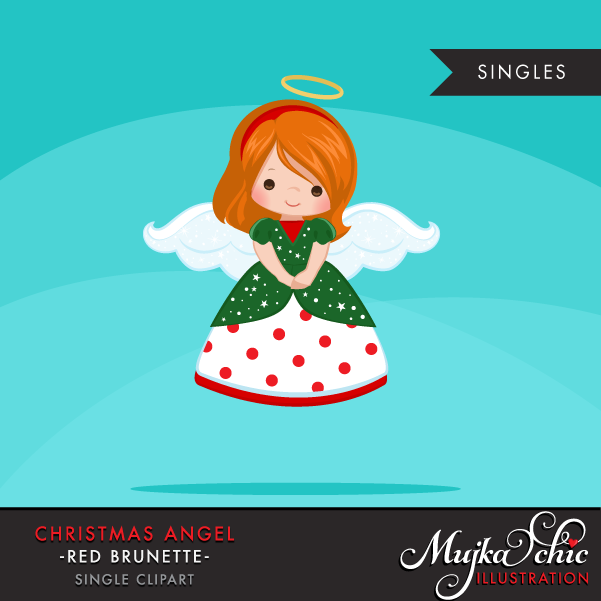 Brunette clipart angel Clipart Christmas Red Brunette