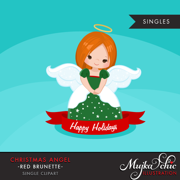 Brunette clipart angel Clipart Christmas Brunette 2 Red