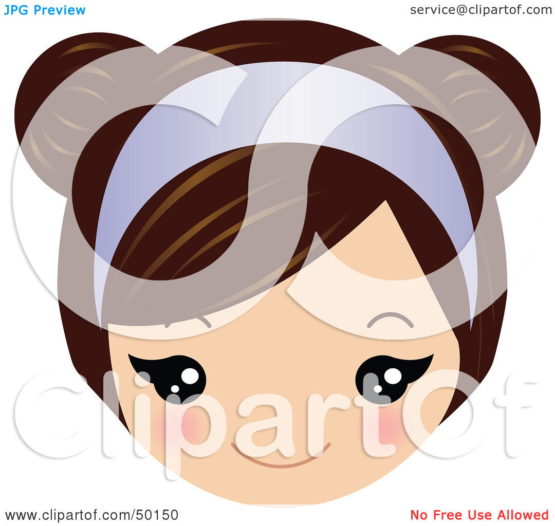 Brunette clipart lady face Illustration Clipart Headband Purple Vector