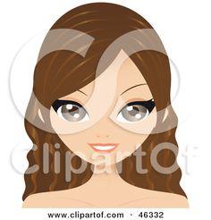 Brunette clipart long hair Woman Background Clip Art
