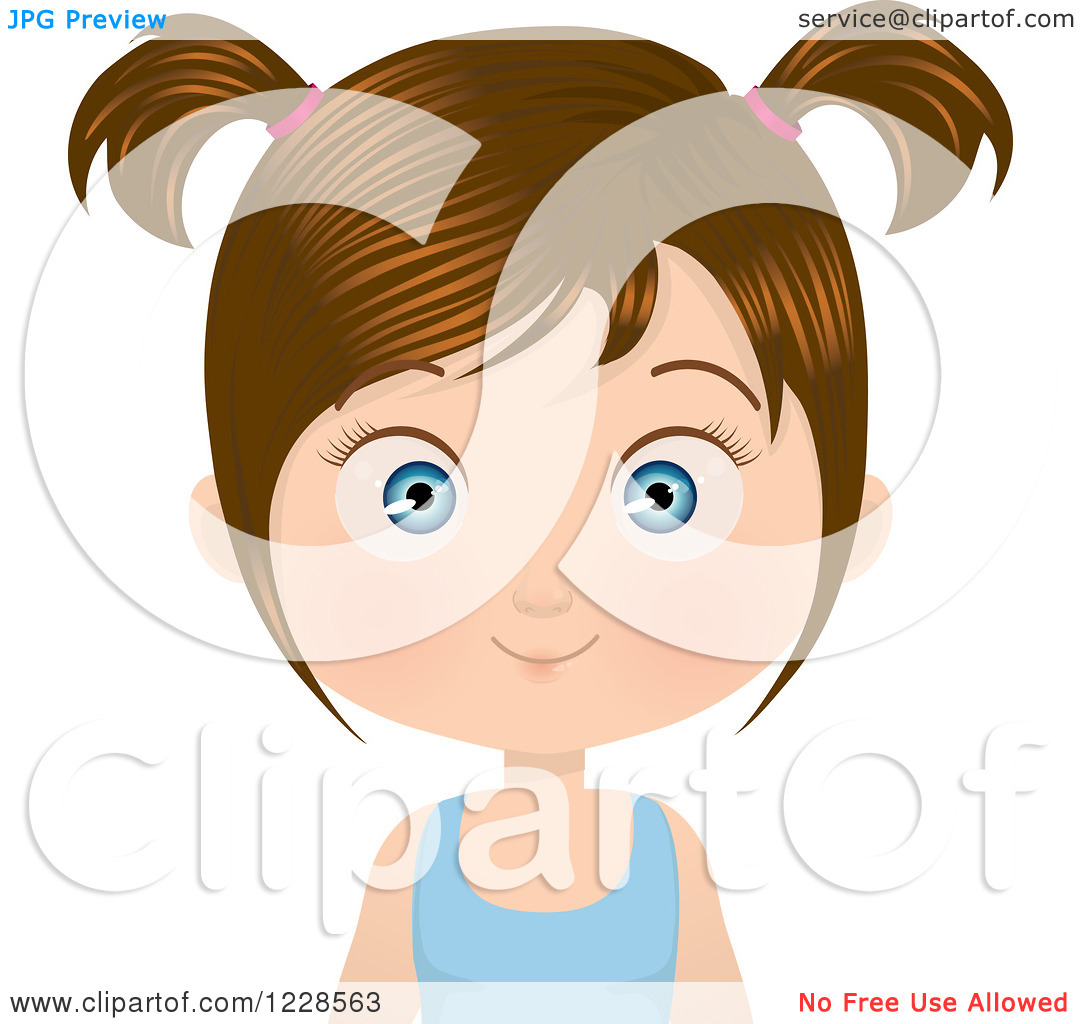 Brunette clipart pigtail Of Girl Clipart Vector art