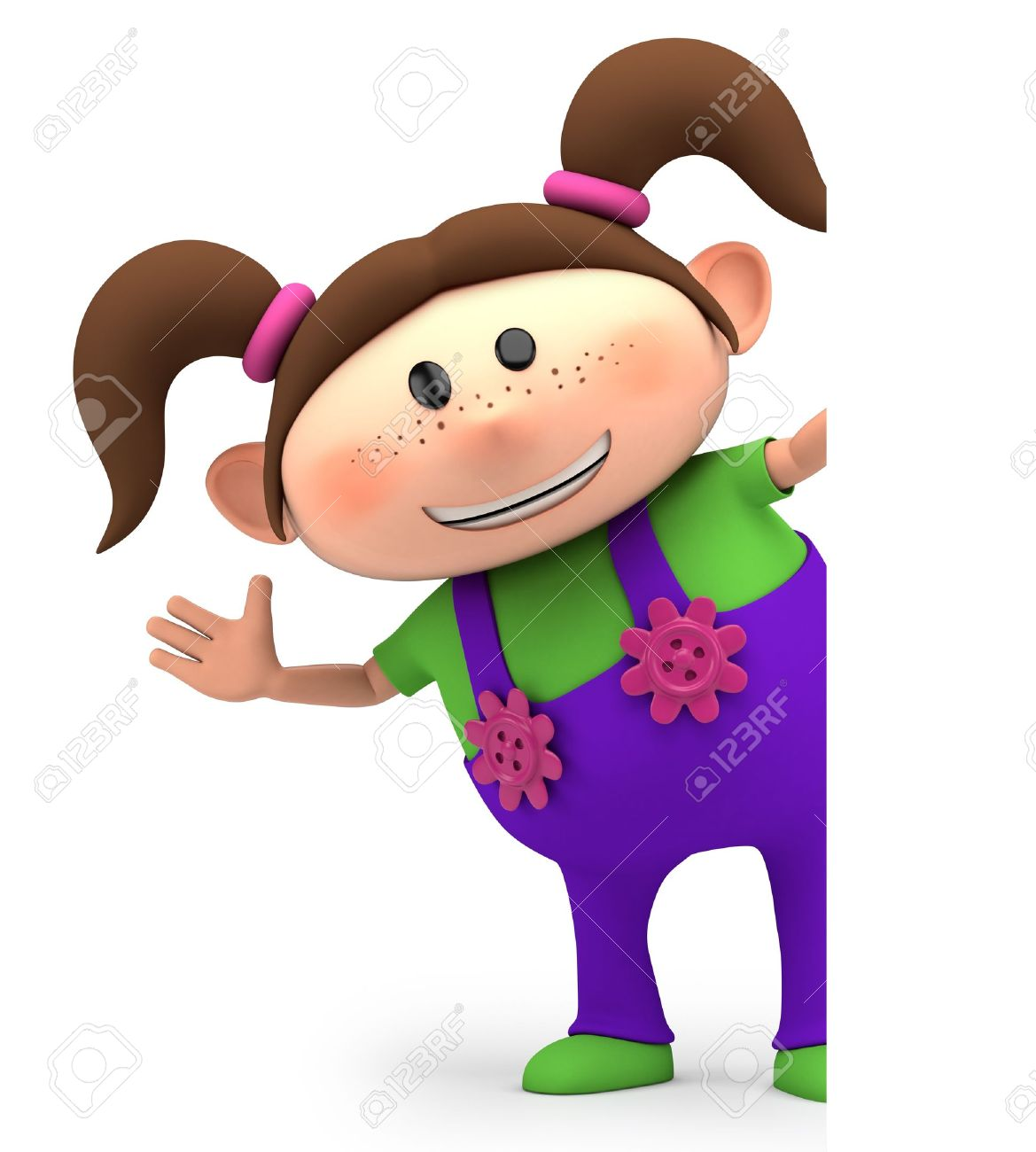 Brunette clipart pigtail Girl waving Pigtail 056 Girl