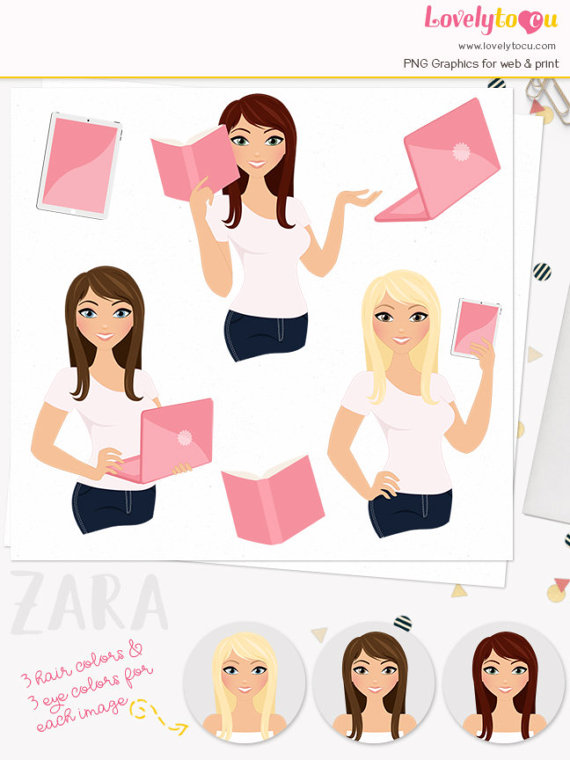 Brunette clipart professional woman And girl girl clipart