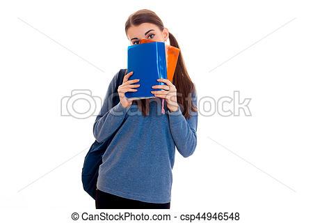 Brunette clipart student face Backpack books face backpack on