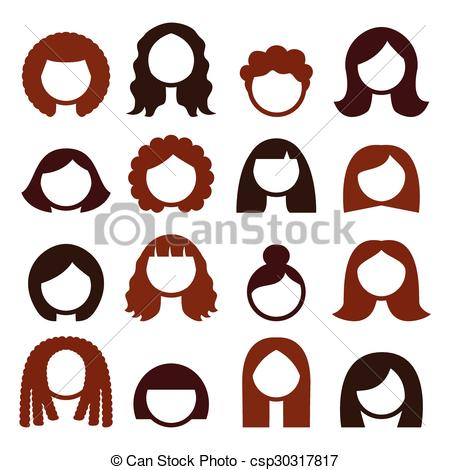 Brunette clipart wig Csp30317817 wigs icons Brunette Vector