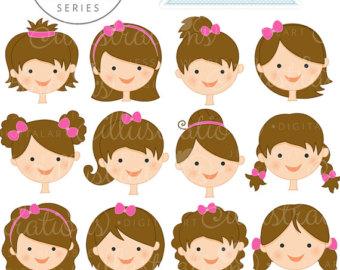 Brunette clipart woman face Cute Digital Cute Create Faces