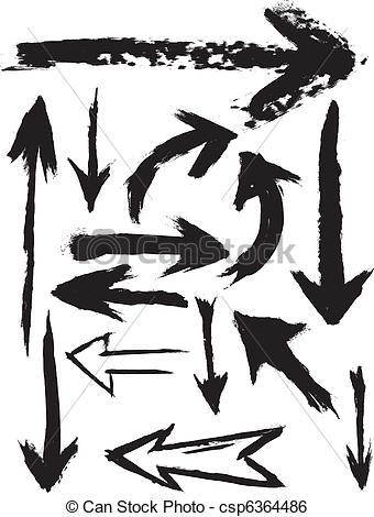 Brush clipart arrow A of Grunge Arrows Vector