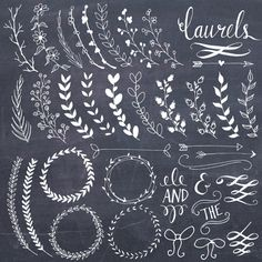 Brush clipart dog // Laurels Chalkboard Brushes //