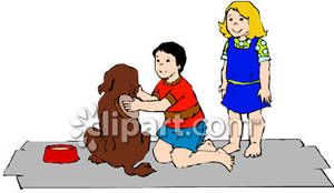Brush clipart dog Brushing a Child Free Dog
