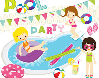 Bubble clipart pool party Borders Swimming party design swim