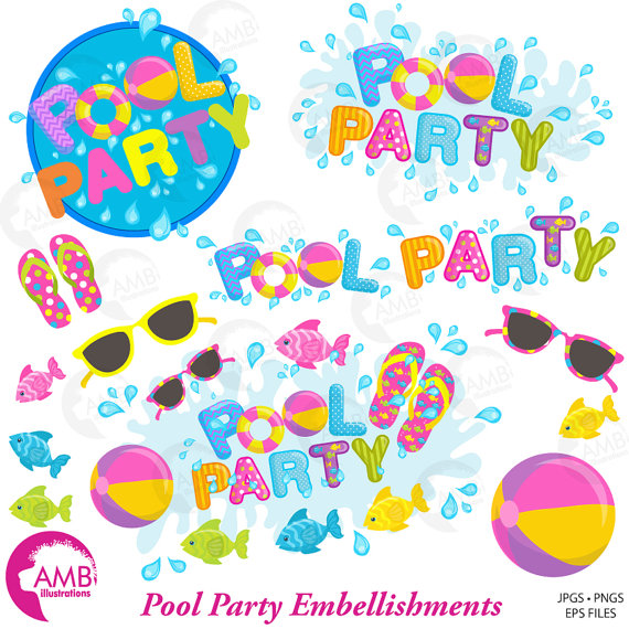 Background clipart pool party Embellishments  Clipart Party Pool