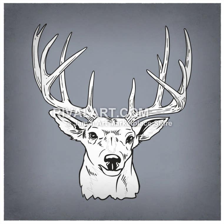 Buck clipart 12 point Graphic Deer Black Antlers Vector