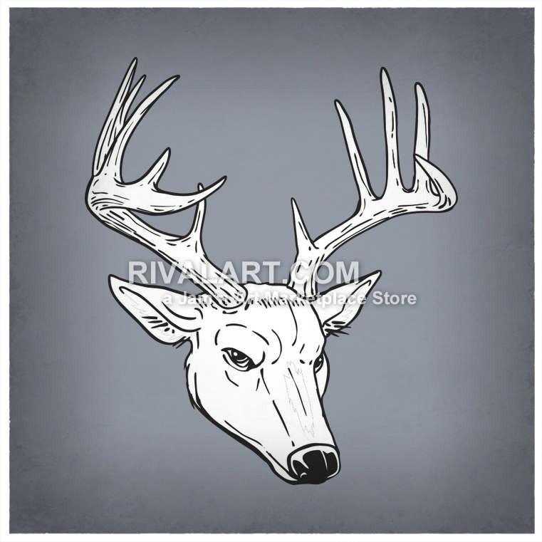 Buck clipart 12 point Hunter Digital File Black 12