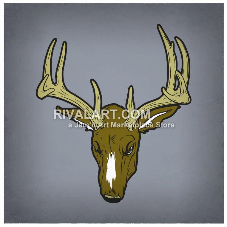 Buck clipart 12 point 12 Head Colored Deer Vector